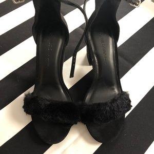 NWT Fuzzy Black Block Heels